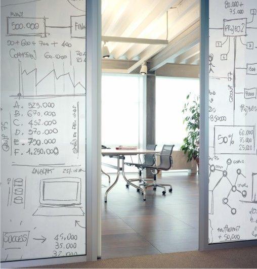 Kirjoituspinnat lasiseinällä: Contract Deco | whiteboard tape on glass window