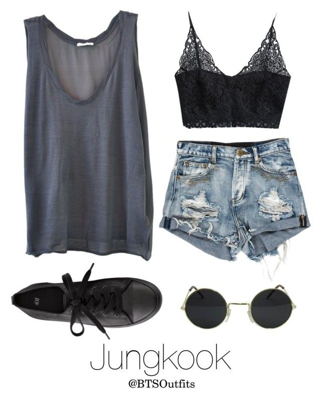 """""""Coachella Date with Jungkook"""" by btsoutfits ❤ liked on Polyvore featuring American Vintage and H&M"""