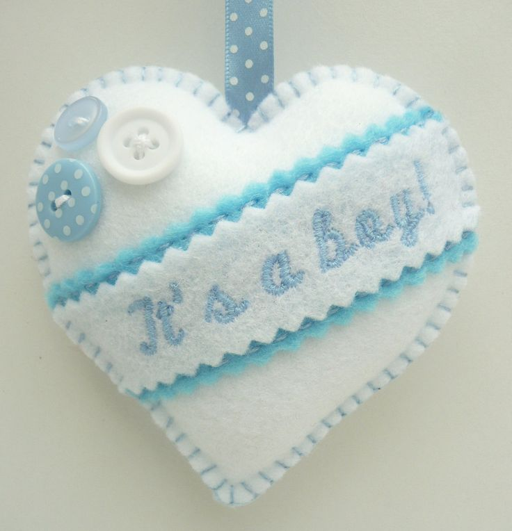 New Baby Gift - Embroidered Felt Heart.  Could also be a tree ornament.