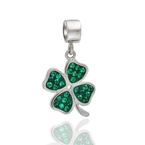 St patricks Day 4 leaf Clover Sterling Silver Charm Bracelet Irish Shamrock NEW #Everbling