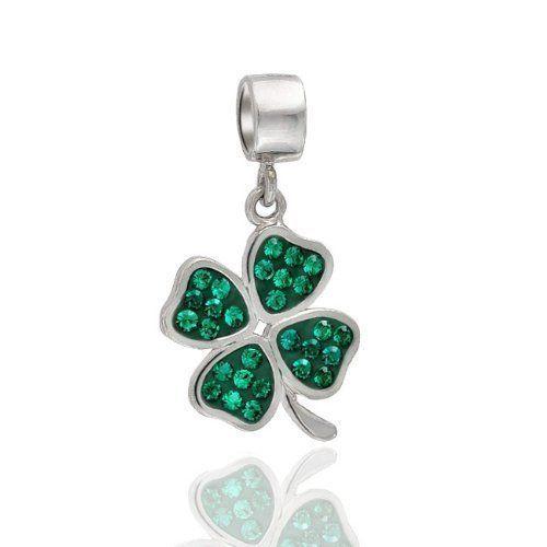 St patricks Day 4 leaf Clover Sterling Silver Charm Bracelet Irish Shamrock NEW #Everbling