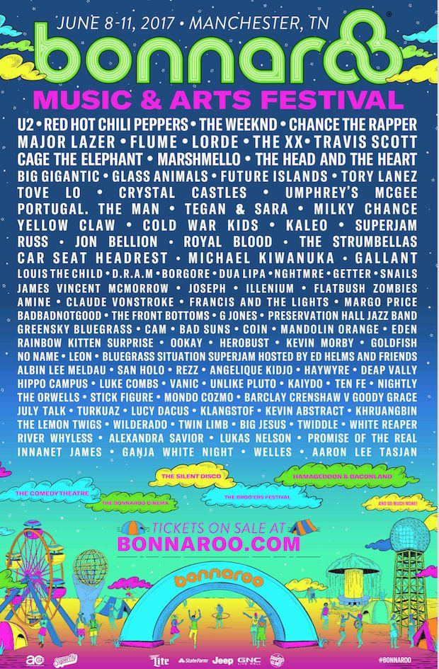 Bonnaroo 2017 Lineup Announced feat. U2, Chance The Rapper, The Weeknd, RHCP