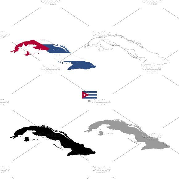 Cuba country silhouettes by Evgeniy on @creativemarket