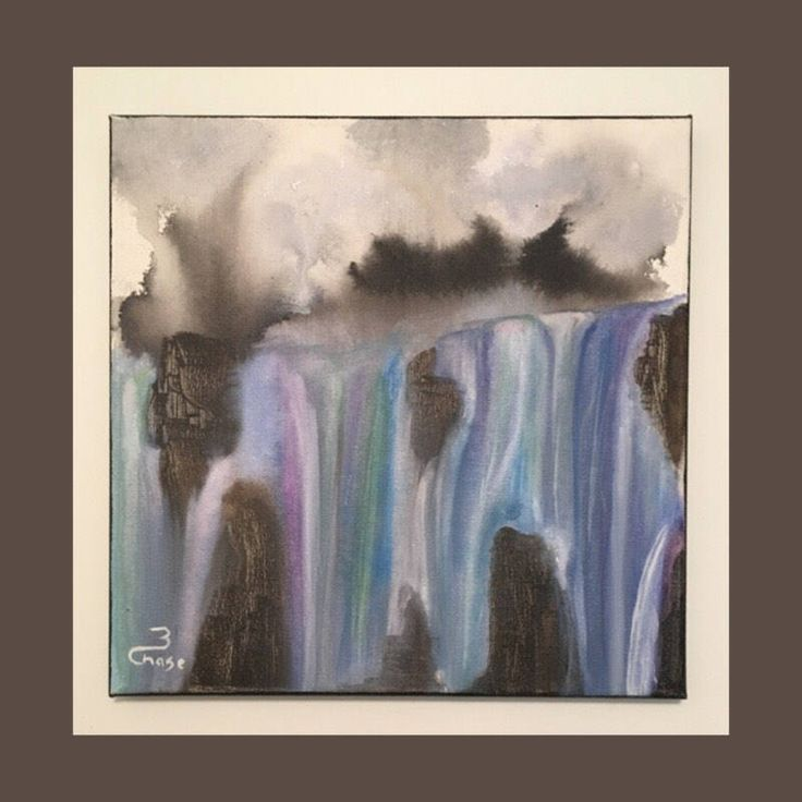 Acrylic Painting, Nature, Waterfall Painting, Landscape Painting, Wall Decor, Acrylic on Canvas, Paintings