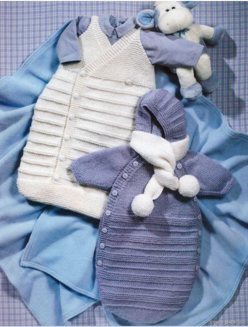 NÁVODY KE STAŽENÍ | Spací pytel bílý a světle modrý - návod | Popleta HH - pletací příze, jehlice, háčkování, návody
