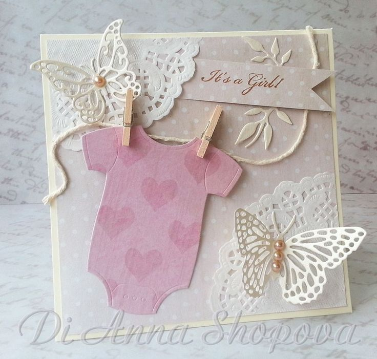 Handmade Baby Girl Card, Welcome Baby, Its A girl, Congratulations, Baby Shower, Shabby Chic Baby, Butterflies