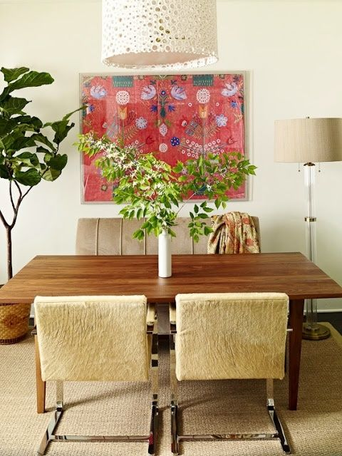dining room, lauren liess, pure style home blog. Print from Natural Curiosities and pendant lamp from
