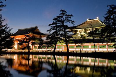 Todai-ji Temple illuminated at night, Nara