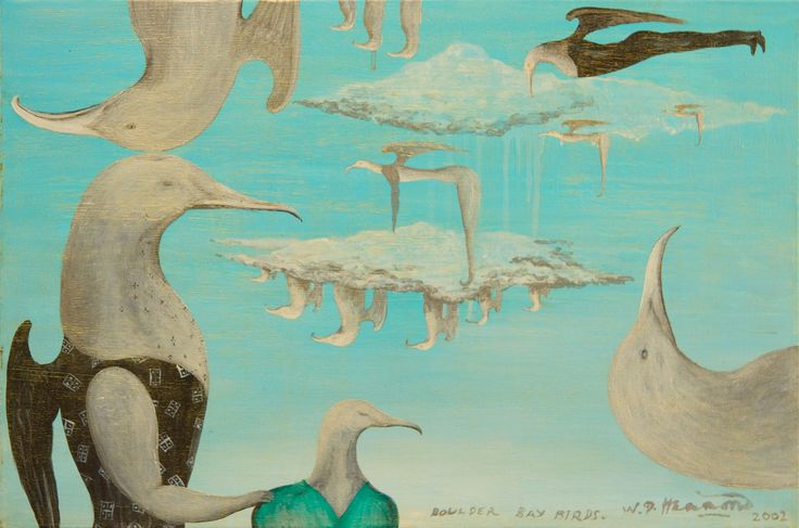 Bill Hammond Boulder Bay Birds acrylic on canvas  signed W.D. Hammond, dated 2002 and inscribed Boulder Bay Birds in brushpoint lower right  400mm x 600mm  Realised: $42,000 March 2012