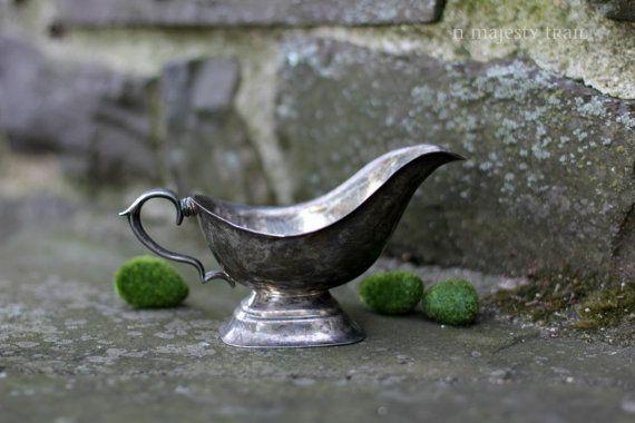 Silverplate Gravy Boat. Vintage. Ornate by NorthMajestyTrail