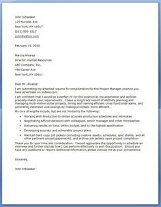 Best  Project Manager Cover Letter Ideas On