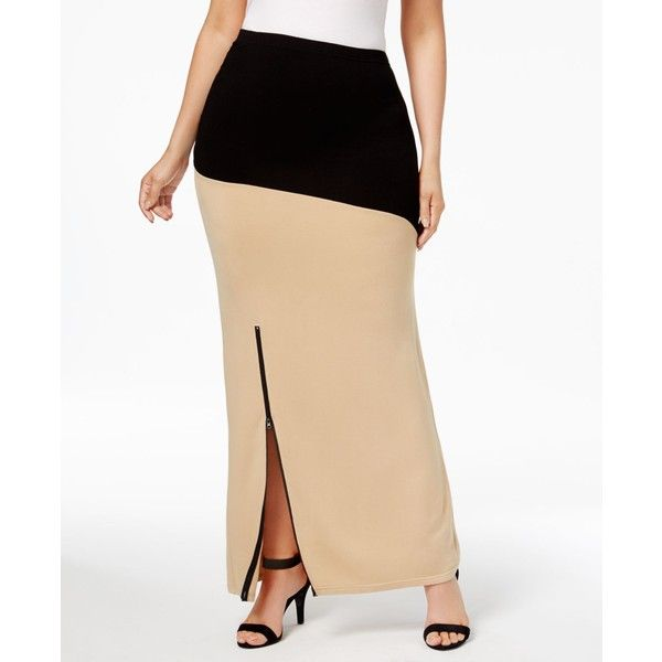 Poetic Justice Trendy Plus Size Colorblocked Maxi Skirt ($42) ❤ liked on Polyvore featuring plus size women's fashion, plus size clothing, plus size skirts, black champagne, long skirts, colorblock skirts, off white skirt, plus size long skirts and maxi skirt