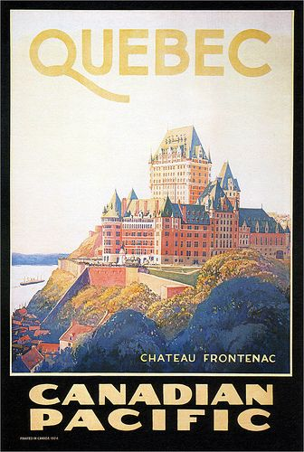 Canadian Pacific Quebec Chateau Frontenac travel poster designed by Will Hollingsworth. Quebec. 1924. #vintage #travel #poster