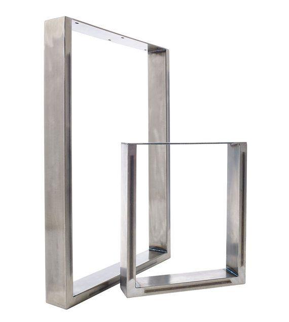 Tavolo da pranzo e panca piedistalli in acciaio industriale