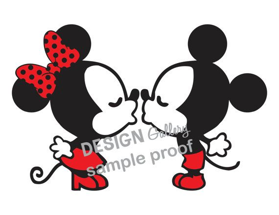 Kissing Mickey Mouse & Minnie Mouse DIY Printable Iron On Transfer Instant Download