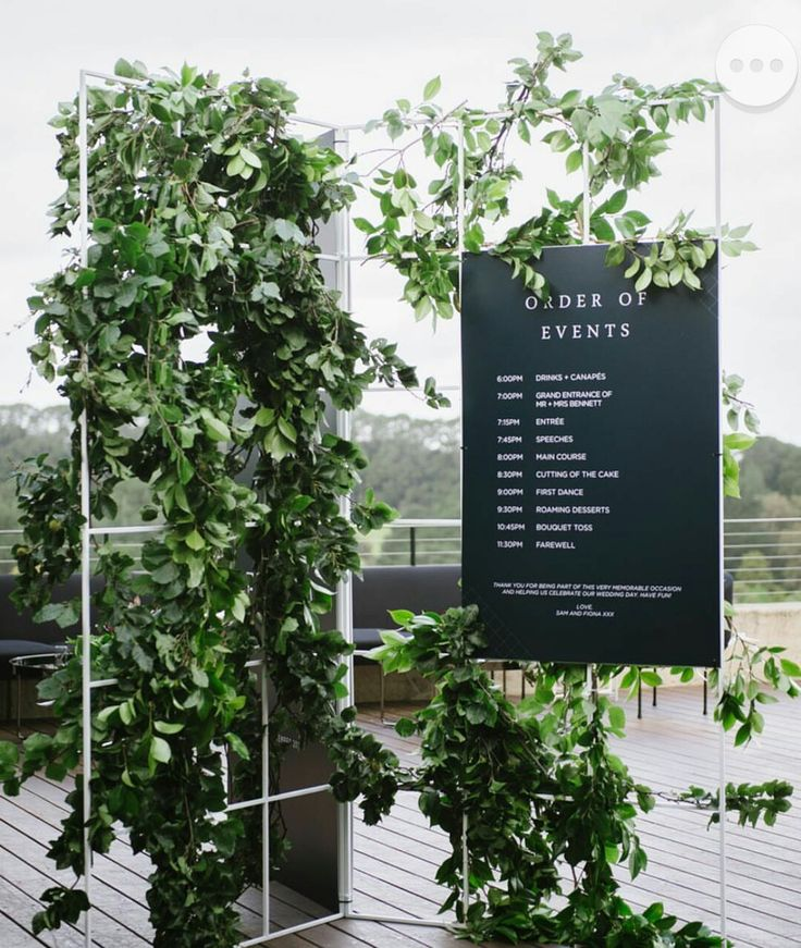 Architectural and Modern wedding Timeline Display, with overgrown Greenery
