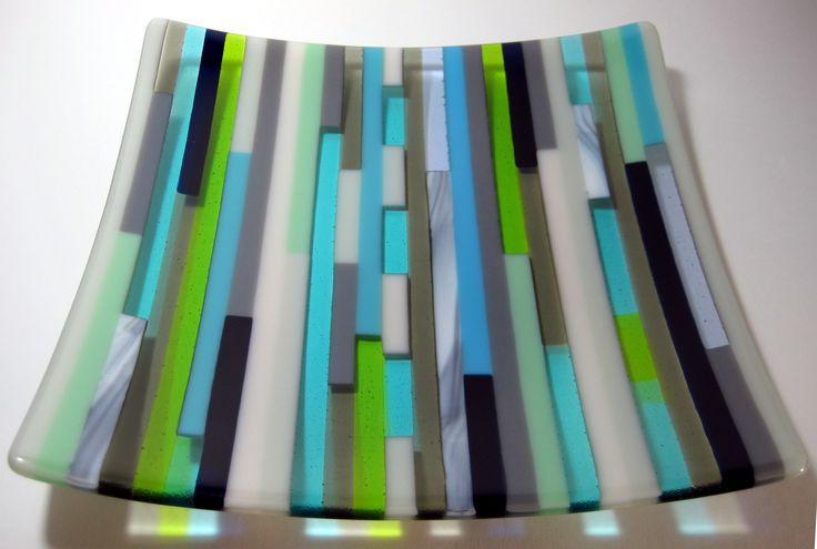 Seaside Striped Fused Glass Plate