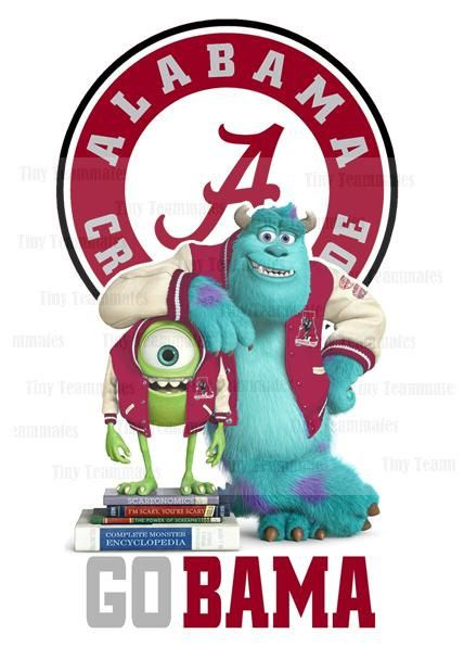Monsters University Inspired Alabama Crimson Tide - New Custom Design - Digital File - Any Team Available by special request