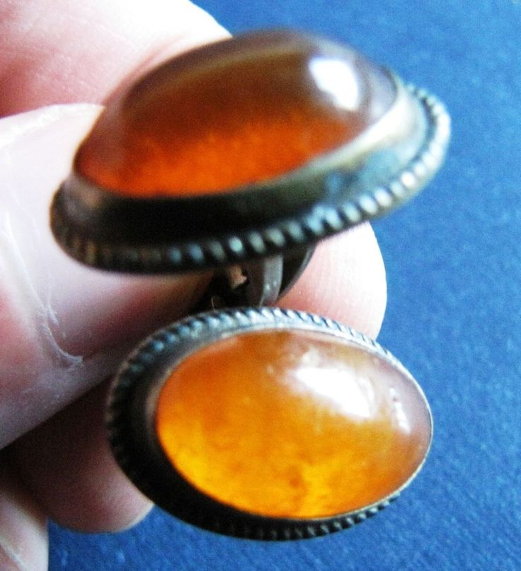 11 gr Natural Baltic Amber Cognac cufflinks Vintage Retro Jewelry Silver 875 老琥珀
