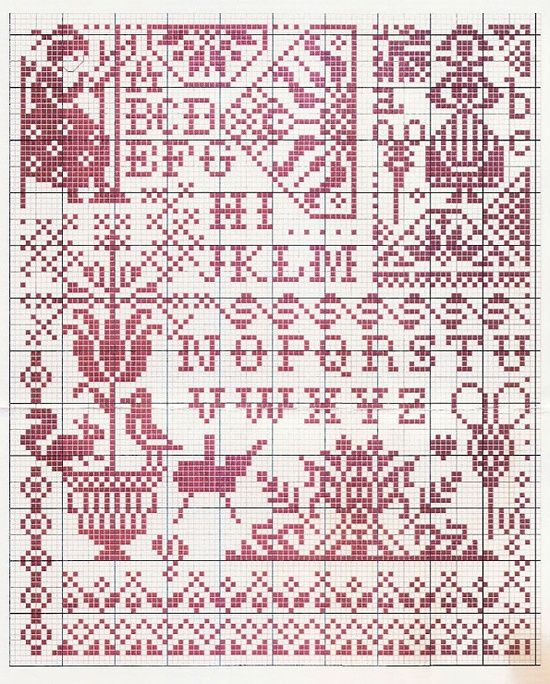 cross stitch - sampler, colonial style, redwork