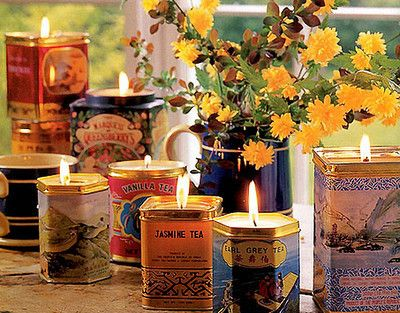 candles in recycled tins