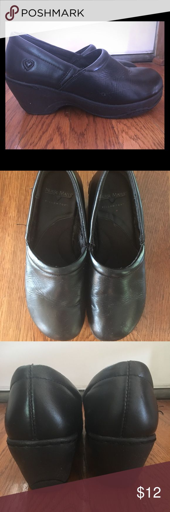 Nurse Mates Nursing Clogs Black leather with pillow top insole.  Used but still in great condition.  Non-skid sole and very comfortable Nurse Mates Shoes Mules & Clogs