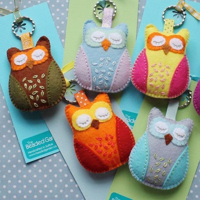 Hand embroidered felt keyring - sleepy owl - orange and red