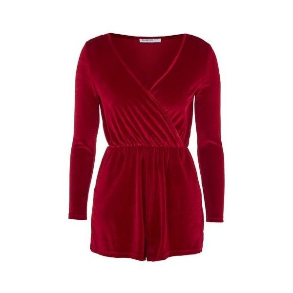 Wrap Front Playsuit by Glamorous Petites ($22) ❤ liked on Polyvore featuring jumpsuits, rompers, red, playsuit romper, red romper, red jumpsuit, red romper jumpsuit and velvet jumpsuits
