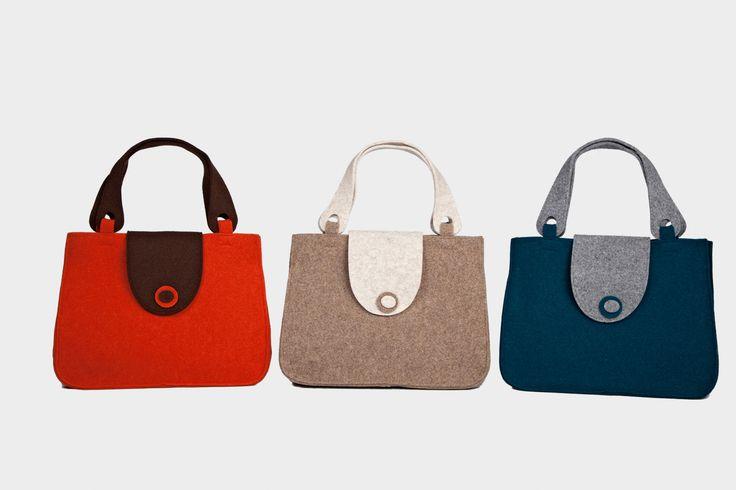 """Borsa Feltro """"Carolina"""" disponibile in rosso/marrone, beige/panna, petrolio/grigio, blu/azzurro e tortora/verde"""