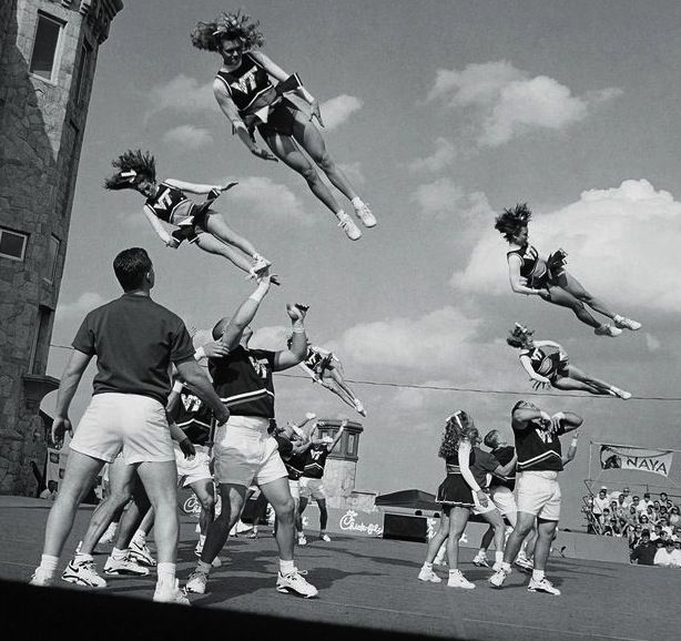 #ThrowbackThursday Amazing shot taken for the airborne cheerleaders #Cheer #tbt #Cheerleading