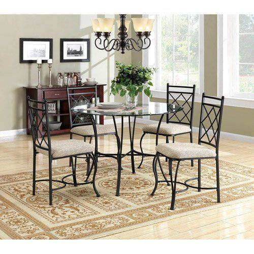 Kitchen Dinette Set Dining Room Furniture 5 Piece Metal Glass Top Table Chairs *** Visit the image link more details. Note:It is affiliate link to Amazon.