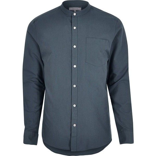 River Island Light blue smart grandad shirt (£20) ❤ liked on Polyvore featuring men's fashion, men's clothing, men's shirts, men's casual shirts, blue, shirts, mens oxford shirts, mens cotton shirts, men's curved hem t shirt and mens grandad collar shirt