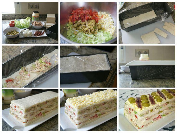 Montaje del pastel fácil de atún con pan de molde