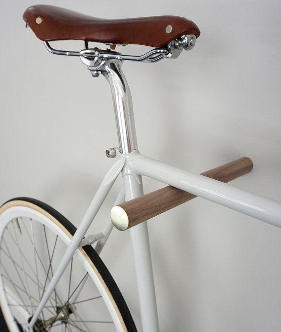 wooden bike hook // BLACK WALNUT // BRASS by fluoshop on Etsy