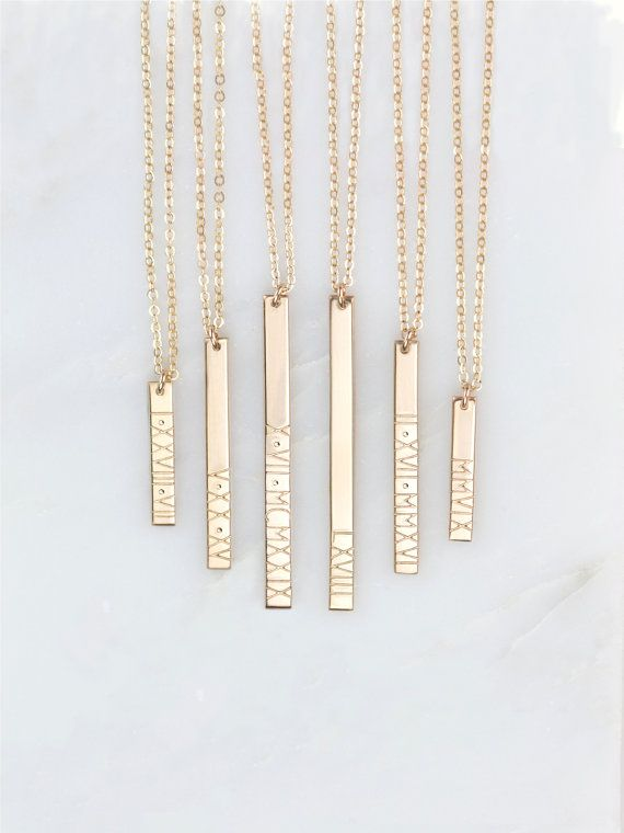 Personalized Roman Numeral Vertical Bar Necklace / by GLDNjewelry