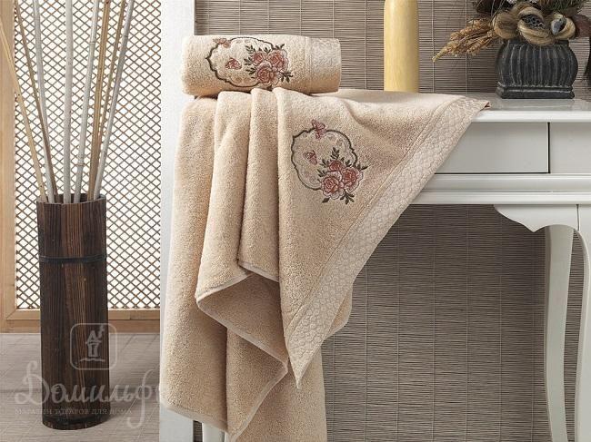 Набор полотенец с вышивкой KARNA DEMET абрикосовый от Karna (Турция) - купить по низкой цене в интернет магазине Домильфо