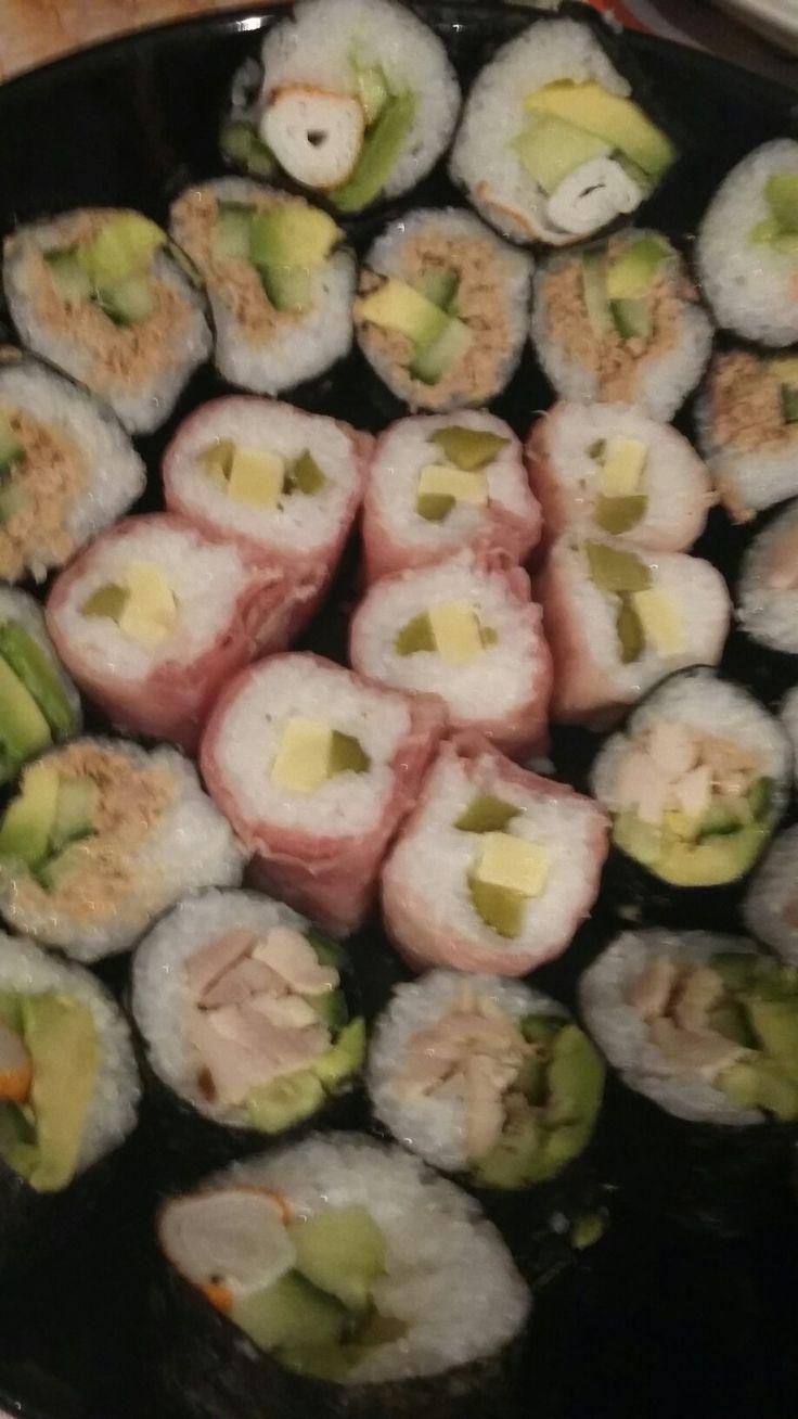 Swiss ham, Gruyere cheese and pickle sushi