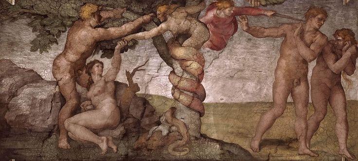 Грехопадение и Изгнание из рая (до реставрации). Микеланджело Буонарроти