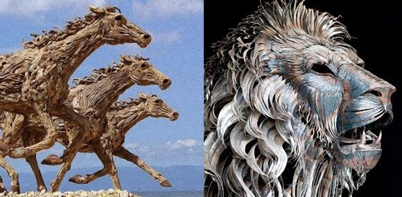 A metallic lion and wooden horses.