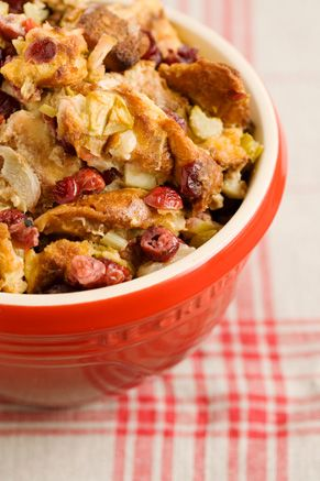Paula Deen Apple Cranberry Stuffing - bet it can be skinny up by using fat free broth; smart balance; maybe another bread??