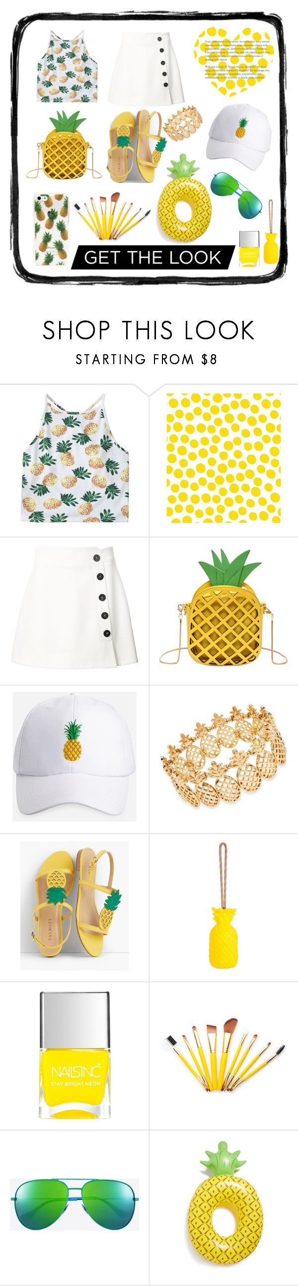 """""""#Pineapple#Yellow#Fun"""" by whitney555 ❤ liked on Polyvore featuring Jennifer Paganelli, Misha Nonoo, Ashley Stewart, INC International Concepts, Talbots, Sunnylife, Nails Inc., Yves Saint Laurent and Big Mouth"""