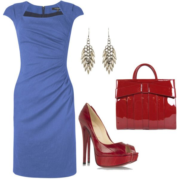A blue cocktail dress.  If you really want to add some flare, go red with the accessories: especially the shoes.  Silver accessories would go great with this outfit as well.