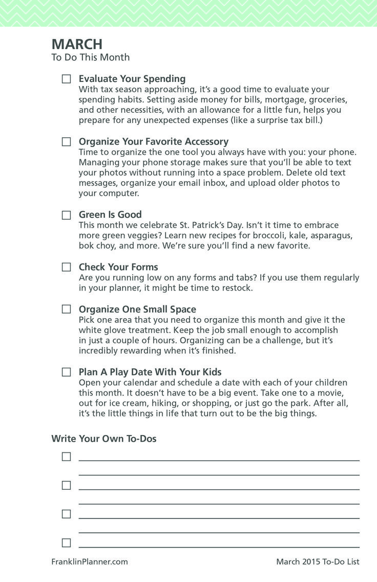 March 2015 Monthly To-Do Checklist