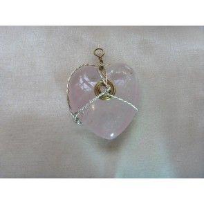 Wire wrapped Rose Quartz heart pendant, 55mm