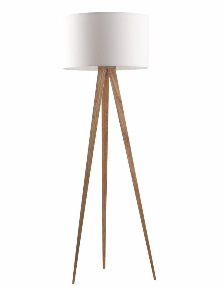 Zuiver Trípode lámpara de piso de madera, natural / blanco, 151x50cm