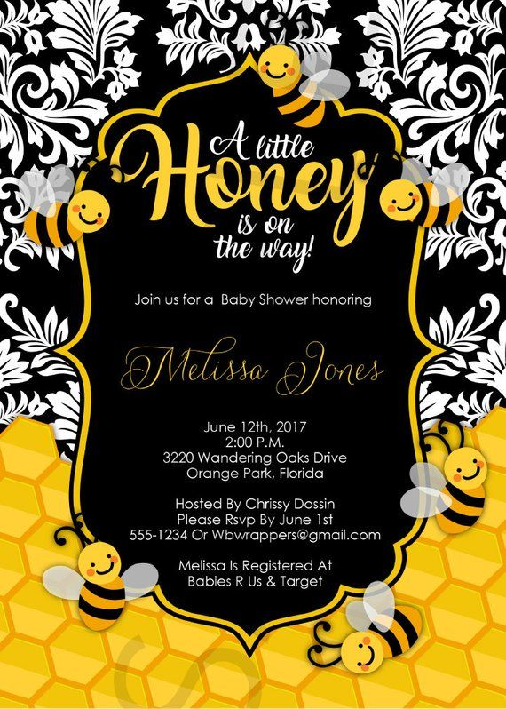 Little Honey Bee Themed Baby Shower Invitation Template Editable