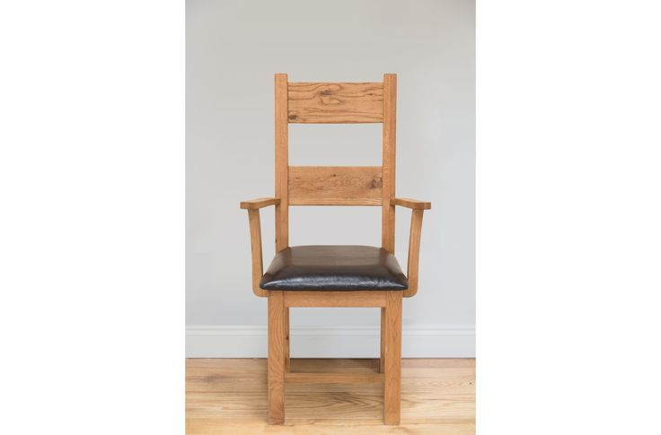 Country Oak Ladder Back Dark Brown Leather Carver Oak Dining Chair