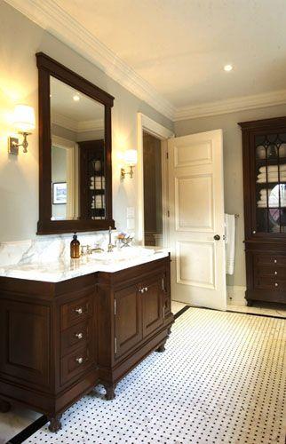 Classic #bathroom #marble #mosaic Basket Weave Floor