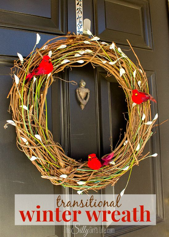 Transitional Winter Wreath, make this wreath for your front door to transition from the Holidays to spring!