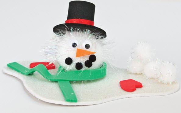 Melting Pom Pom Snowman #craft #snowman #winter